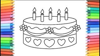 How To Draw A Birthday Cake for Kids 💙💜💖 Birthday Cake Drawing and Coloring Pages for Kids