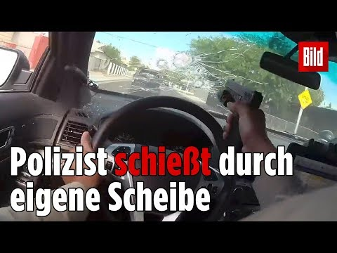 31 Schüsse bei Verfolgungsjagd auf Flucht-Auto | Officer shoots through own window
