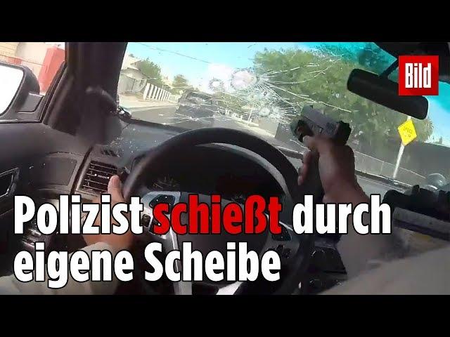 31 Schüsse bei Verfolgungsjagd auf Flucht-Auto   Officer shoots through own window