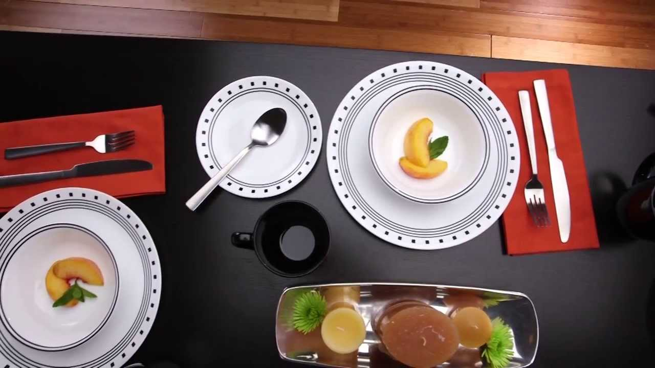 Corelle - City Block 16 Piece Dinnerware Set - YouTube