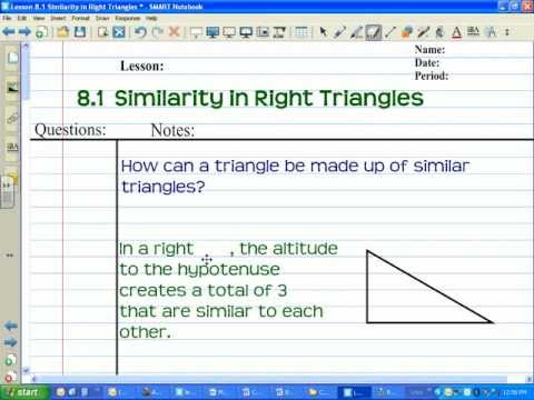 Geometry Lesson 8 1 Similarity In Right Triangles YouTube