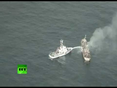 'Flying Japanese': US destroys tsunami 'ghost ship' with cannon fire