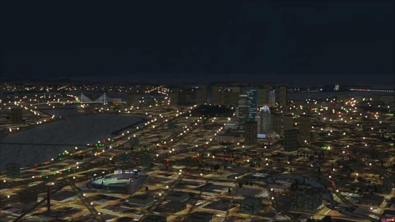 FSX Microsoft Flight Simulator X Boston Google Earth Scenery Showing All  Times of Day Through Night