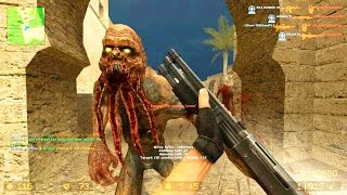 Counter Strike Source - Zombie Riot mod Zombie boss fights - Multiplayer Gameplay on Dust 1 map