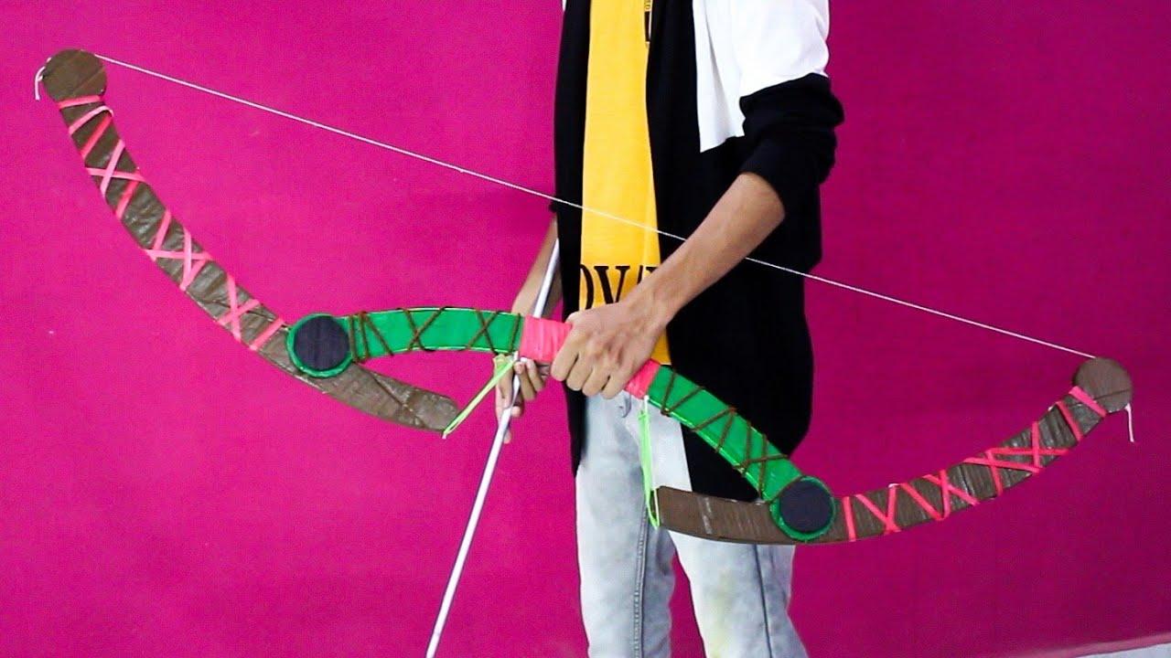 How to build a Powerful Bow and Arrow   Cardboard DIY