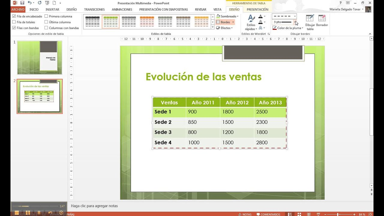 Borde y Relleno Tablas Power Point - YouTube