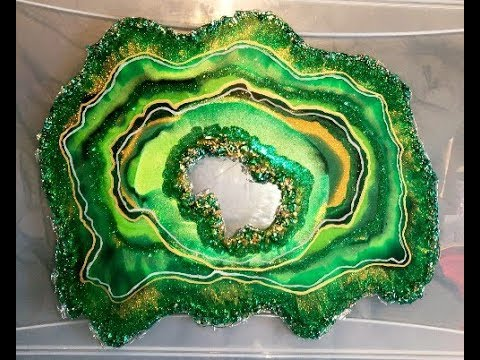 Green & Gold Free Form Resin Geode