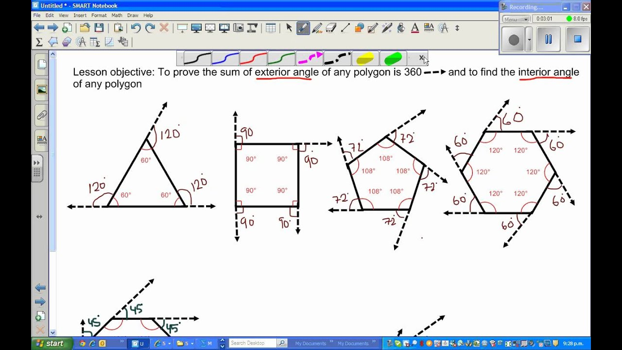 Sum of exterior angles in a polygon part 1 youtube - Sum of exterior angles of polygon ...