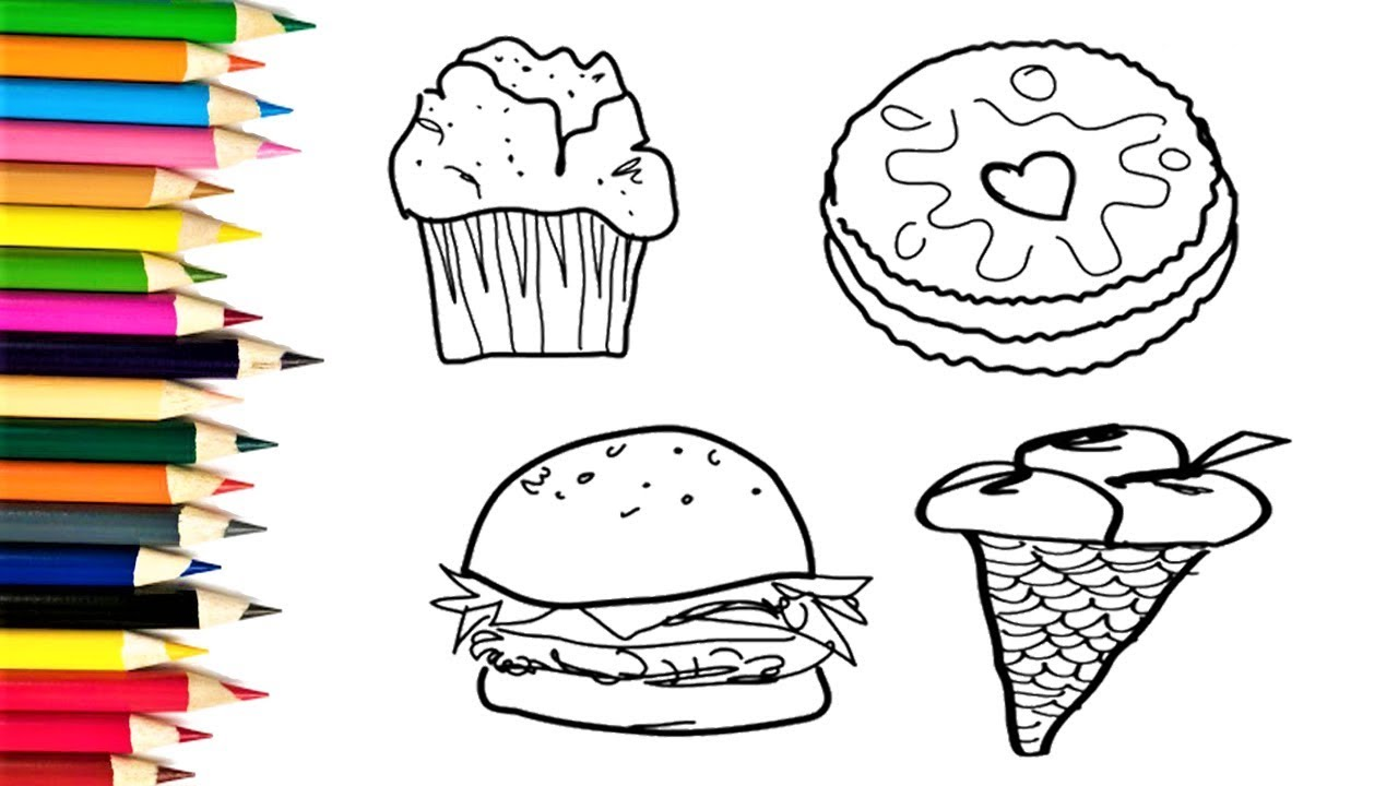how to draw cakes hamburger and ice cream coloring pages