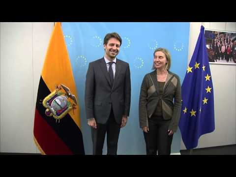 Federica Mogherini with Guillaume LONG Minister of Foreign Affairs of Ecuador
