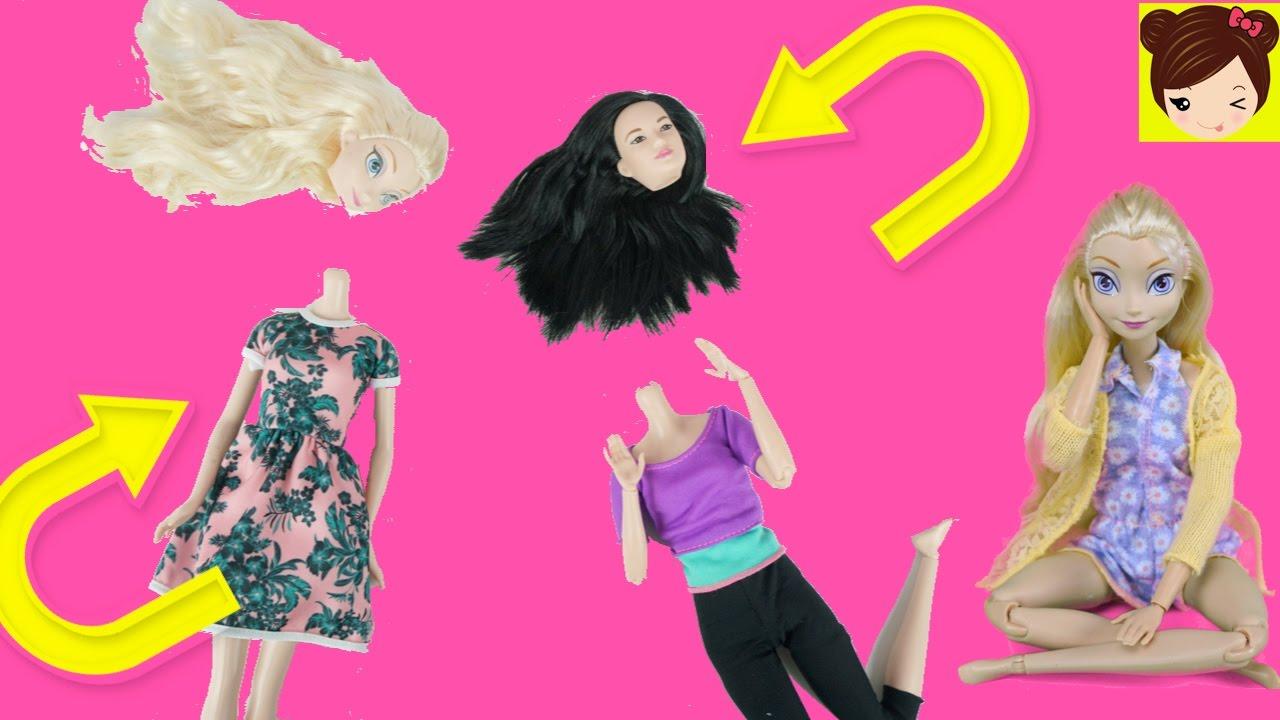 Frozen Elsa Cambia de Cuerpo a Barbie Movimientos Divertidos ...