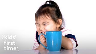 Kids' First Time Drinking Coffee | Kid's First Time | HiHo Kids