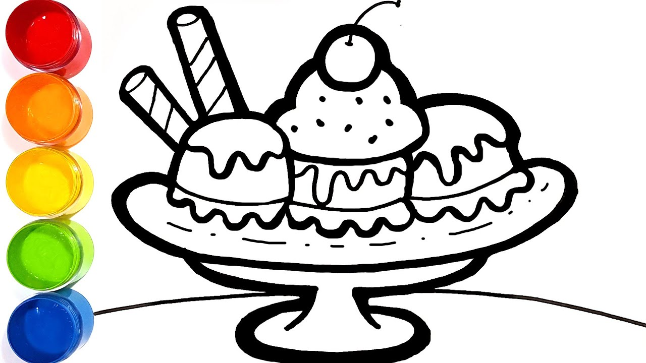 - Ice Cream Banana Split Drawing And Coloring For Kids Ice Cream Coloring  Pages - YouTube