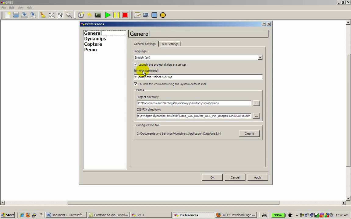 Using Putty with GNS3 - Part 1