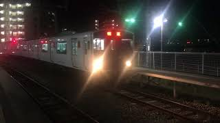 817系・813系 回送列車 夜の南福岡駅に到着 JR九州 鹿児島本線 2017年10月31日