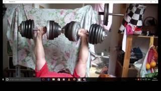100 Pound 45 Kg Dumbbell Bench Press BANKDRÜCKEN mit KURZHANTELN