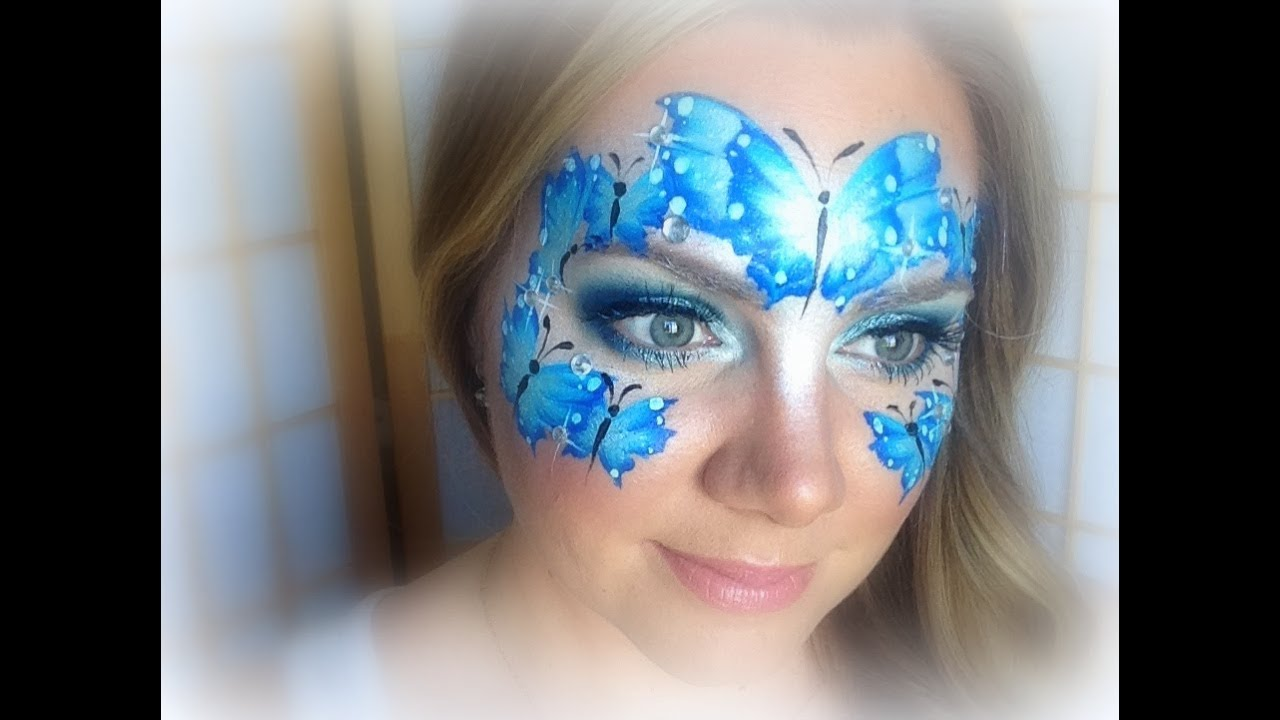 Blue Butterflies Makeup And Face Painting YouTube