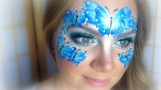 Blue Butterflies Makeup and Face Painting