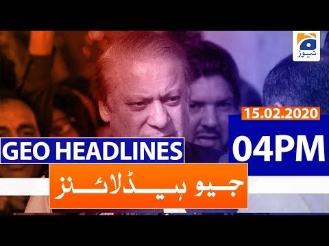 Geo Headlines 04 PM   15th February 2020