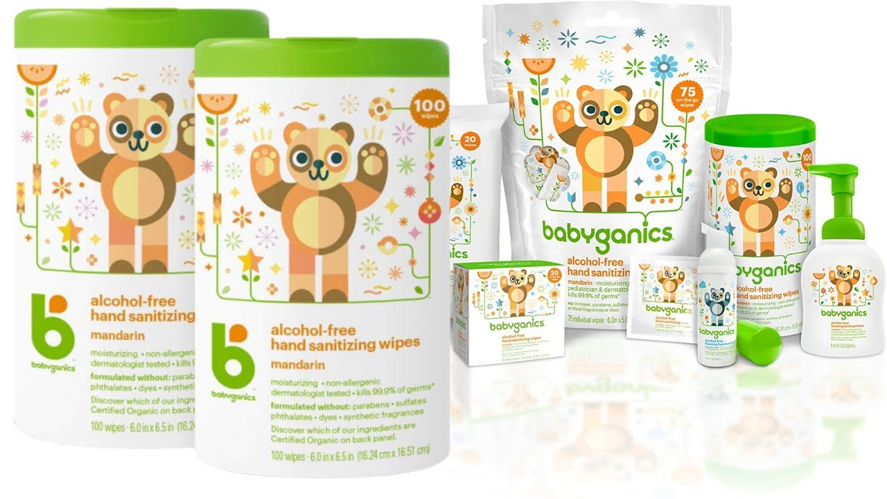 2 Pack Babyganics Alcohol-Free Hand Sanitizer Wipes 100 ct Packaging May Vary Mandarin