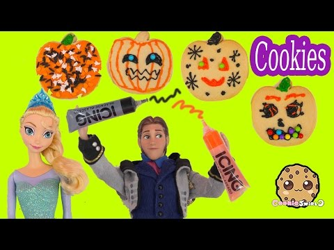 Disney Frozen Dolls Queen Elsa, Princess Anna , Prince Hans Decorate Halloween Pumpkin Cookies