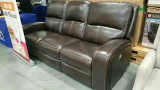 Costco! Leather Sofa W/ 2 Power Reclining Seats With Usb Ports!