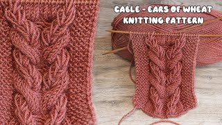 Коса – колос пшеницы спицами 🌾 Cable - Ears of Wheat