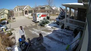 Girl Slips Off Her Motorbike Pulling Over At Snowy Driveway