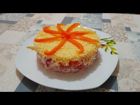 """Салат с ветчиной, помидорами и болгарским перцем """"Осьминожка"""""""