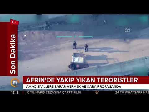 İHA'lar Afrin'de teröristlerin sivillere yönelik saldırılarını görüntüledi