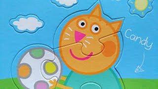 Кошечка Кенди с мячом - собираем пазл для детей Свинка Пеппа   Merry Nika
