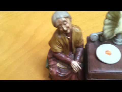 Old Woman Music Box Record Player Figurine