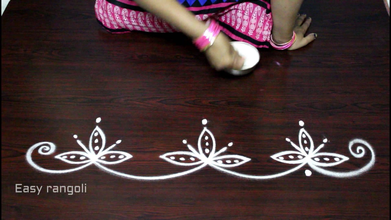 kolam side designs simple mugggulu side designs easy rangoli border designs youtube. Black Bedroom Furniture Sets. Home Design Ideas