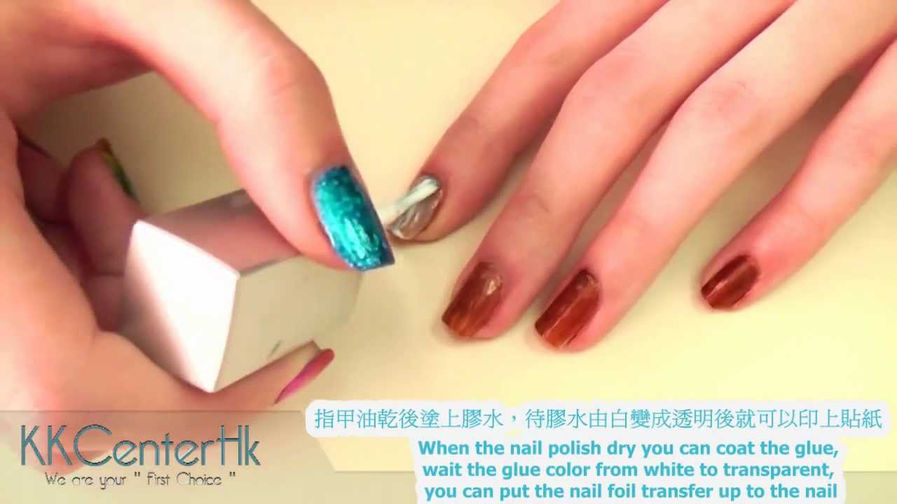 Make Nail Foil Transfer by KKcenterhk.com - YouTube