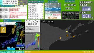 【緊急地震速報(予報)】根室半島南東沖 M5.3 最大震度4 2018/04/24 17:53発生