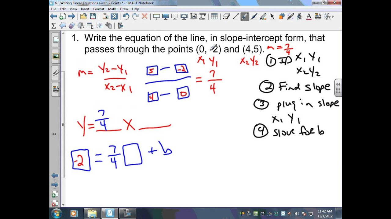 writing linear equations given two points Writing linear equations (given two points) math lib in this activity, students will practice writing linear equations as they move throughout ten stations their answer to each station will give them a piece of their story (who, doing what, with who, where, when, etc).