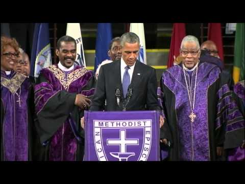 "President Obama Sings ""Amazing Grace"""