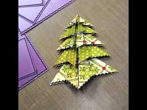 Елка оригами открытка, для