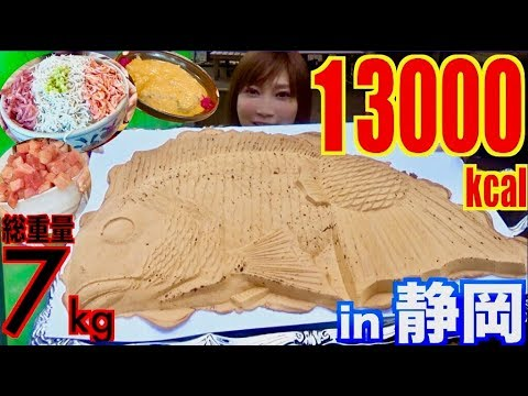 【MUKBANG】 Looking FOR 60CM HUGE FISH IN Shizuoka!! & Eating 7Kg OF 4 Shops Food! [OVER 13000kcal]