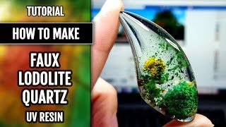 UV Resin tutorial:  How to make Faux Lodolite or Garden Quartz with polymer clay and UV resin!