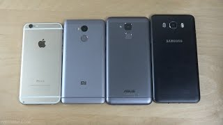 iPhone 6 vs. Asus ZenFone 3 Max vs. Xiaomi Redmi 4 Prime vs. Samsung Galaxy J7 - Speed Test!