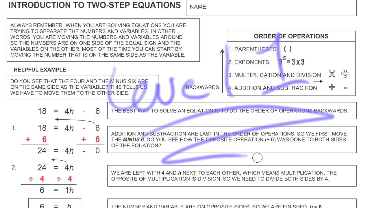 worksheet One And Two Step Equations Worksheet help video for introduction to two step equations worksheet level 1