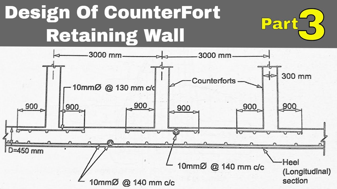 Design Of Counterfort Retaining Wall Part 4 Youtube