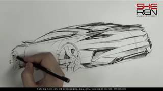 Car Design Sketch(Rear Quarter View)