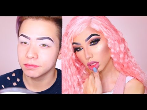 Makeup transformation girl to boy