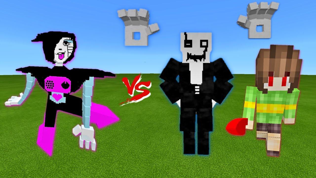 Mettaton vs. Gaster, Chara in Minecraft PE | Undertale Civil War | Epic Battle