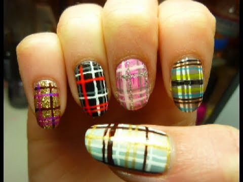 Easy spring plaid fashion nail art tutorial youtube prinsesfo Images