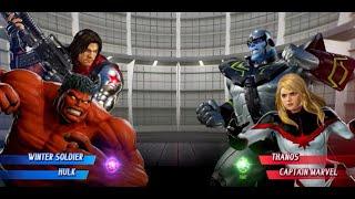 Red Hulk and Winter Soldier vs Thanos and Captain Marvel - MARVEL VS. CAPCOM: INFINITE