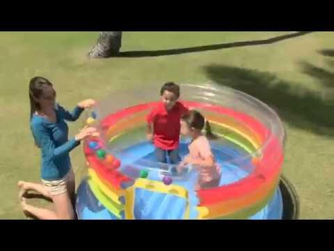Детский надувной бассейн intex грибок 57407 с навесом обзор от .