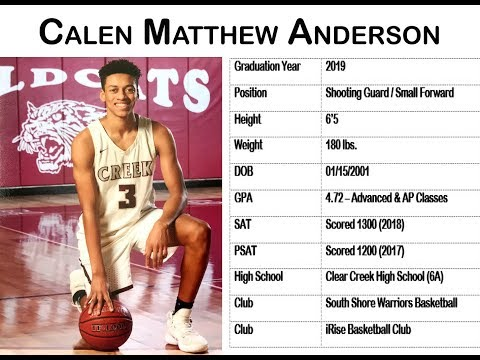 Calen Anderson Basketball Highlight Video for College Recruiters 2018
